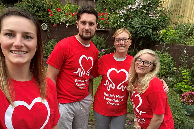Fundraiser Sophie Bignell, left, with brother Lewis, mum Linda and Lewis' girlfriend Cara