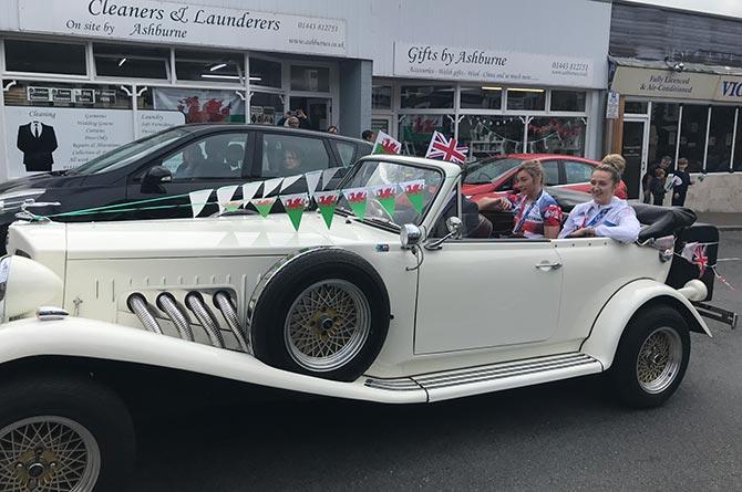 Olympians Lauren Price and Lauren Williams during their parade through Ystrad Mynach