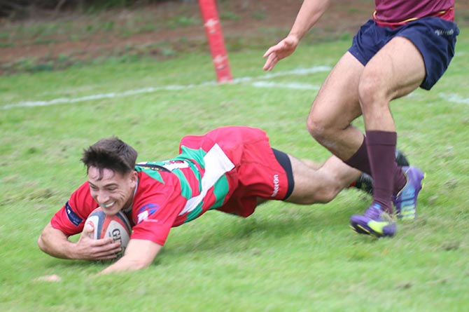 Aaron Billingham crosses over for one of his three tries on his Bedwas debut