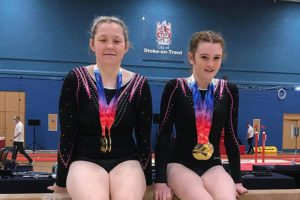 Bethany Paull, left, and Mia Stockley at the British Disability Championships in Stoke-on-Trent