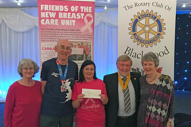 From left: Julia Ellis, David Ellis, ABUHB's Emma Wilkins, Rotary Club of Blackwood's President-Elect Phillip Williams, and Beverley Edwards  during the cheque presentation at the Maes Manor Hotel