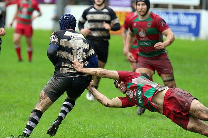 Bedwas' Jack Guy making a tackle