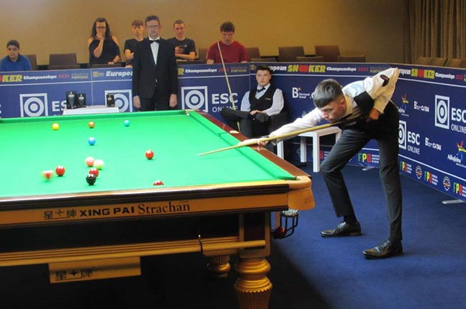 Dylan Emery during the EBSA U21 Championship final