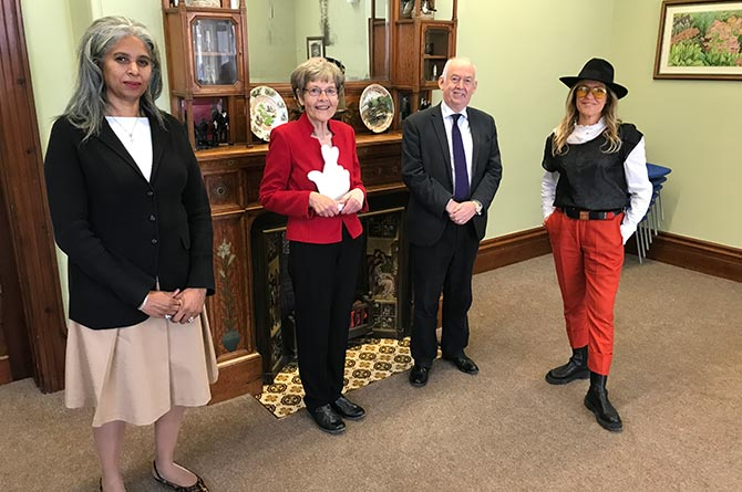 From left: National Lottery Community Fund chair Blondel Cluff CBE, Katherine Hughes, Caerphilly MP Wayne David and singer Cerys Matthews at the Caerphilly Miners' Centre