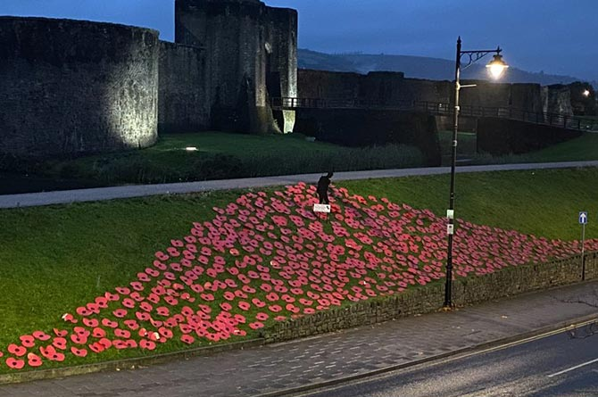 The Poppy Appeal display on the banks of Caerphilly Castle